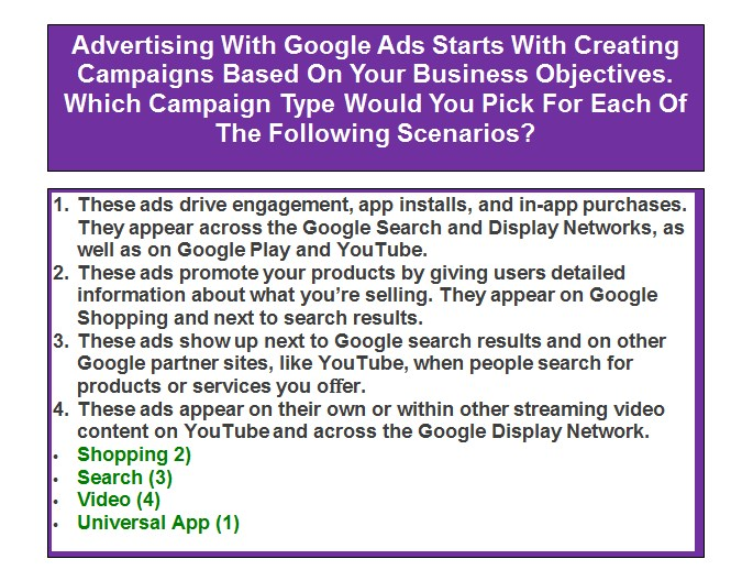 Advertising With Google Ads Starts With Creating Campaigns Based On Your Business Objectives. Which Campaign Type Would You Pick For Each Of The Following Scenarios?