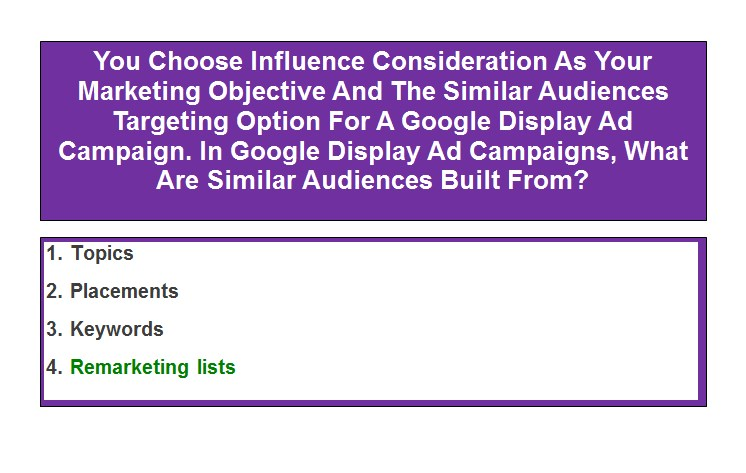 You Choose Influence Consideration As Your Marketing Objective And The Similar Audiences Targeting Option For A Google Display Ad Campaign. In Google Display Ad Campaigns, What Are Similar Audiences Built From?