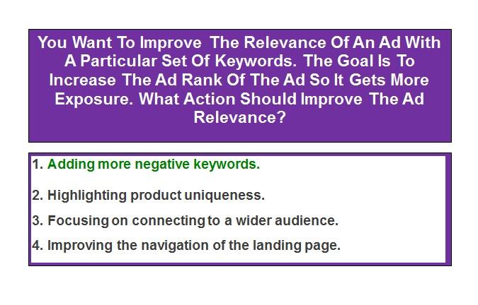 You Want To Improve The Relevance Of An Ad With A Particular Set Of Keywords. The Goal Is To Increase The Ad Rank Of The Ad So It Gets More Exposure. What Action Should Improve The Ad Relevance?