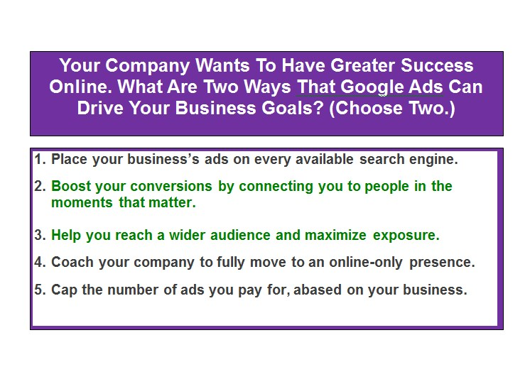 Your Company Wants To Have Greater Success Online. What Are Two Ways That Google Ads Can Drive Your Business Goals? (Choose Two.)