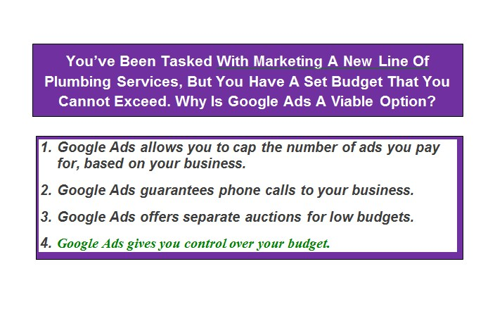 You've Been Tasked With Marketing A New Line Of Plumbing Services, But You Have A Set Budget That You Cannot Exceed. Why Is Google Ads A Viable Option?